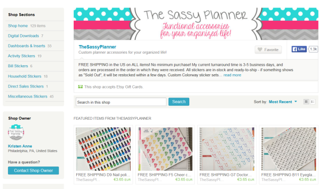 Screen shot of the Sassy Planner's Etsy store
