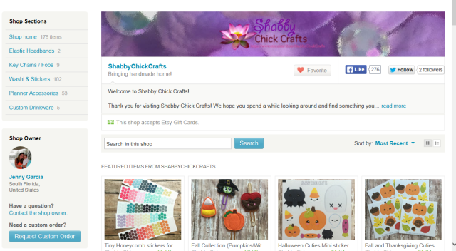 Screen shot of Shabby Chick Craft's Etsy store