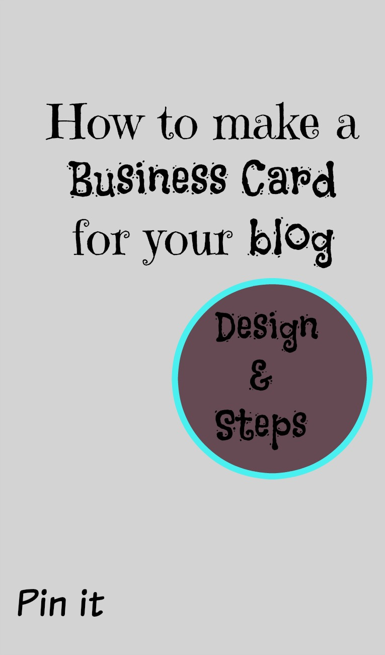 How to make a Business Card for your Blog